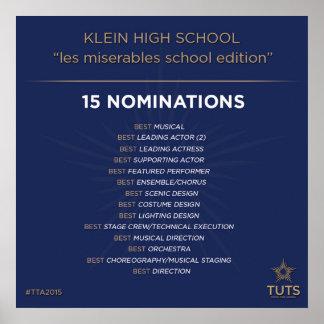 トミーのためのKleinの戯曲指名は2015賞を調整します ポスター