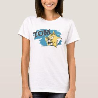 トムの青および黄色のロゴ Tシャツ