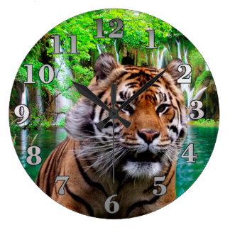 トラおよび滝 ラージ壁時計
