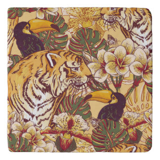 トラが付いている熱帯花パターン トリベット