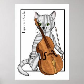 トラが演奏するチェロ ポスター