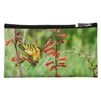 トラのアゲハチョウの蝶および野生の花 コスメティックバッグ