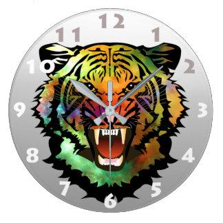 トラのデザイン(数と) ラージ壁時計