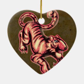トラのベビーの絵画の漫画のサケブラウン 陶器製ハート型オーナメント