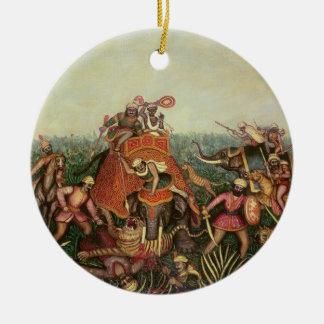 トラの狩り1892年(キャンバスの油) セラミックオーナメント