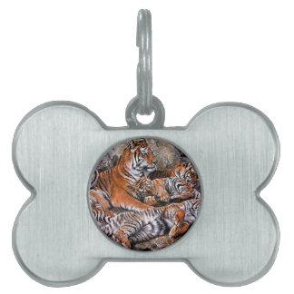 トラの絵画トラの家族トラの幼いこどもトラの芸術 ペットネームタグ