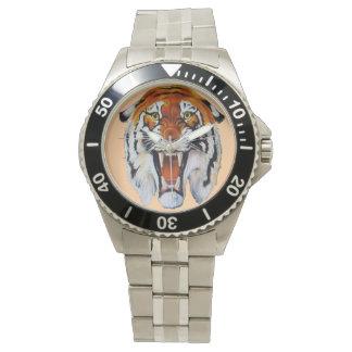 トラの野生猫の鋭い歯 腕時計