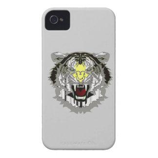 トラの頭部、金属一見、野生猫、動物 Case-Mate iPhone 4 ケース