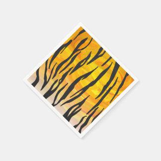 トラの黒いおよびオレンジプリント スタンダードカクテルナプキン