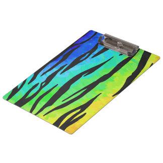トラの黒および虹のプリント クリップボード