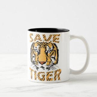 トラの黒を11のozのツートーンマグ救って下さい ツートーンマグカップ