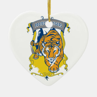 トラを保護して下さい セラミックオーナメント