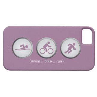 トライアスロンによって水泳バイク走られるiPhone 5の場合(薄紫) iPhone SE/5/5s ケース