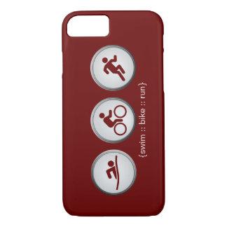 トライアスロンによって水泳バイク走られるiPhone 7の場合(あずき色) iPhone 8/7ケース