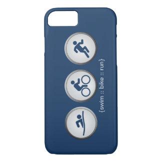 トライアスロンによって水泳バイク走られるiPhone 7の場合(海軍) iPhone 8/7ケース