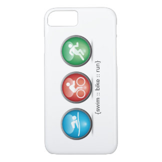 トライアスロンによって水泳バイク走られるiPhone 7の場合(白い) iPhone 8/7ケース