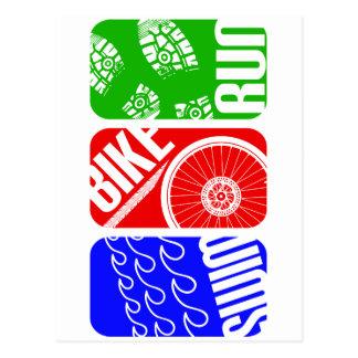 トライアスロン三色のブロック ポストカード