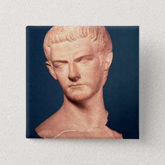 トラキアのc.39-40広告からの皇帝Caligulaのバスト 5.1cm 正方形バッジ