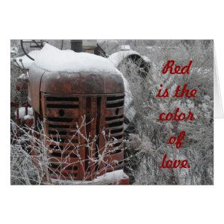 トラクターのバレンタインカード: 赤は愛の色です カード