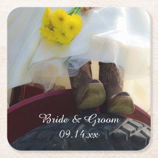 トラクターの国の農場の結婚式の花嫁 スクエアペーパーコースター