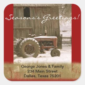 トラクター及び納屋のクリスマスの封筒用シール スクエアシール