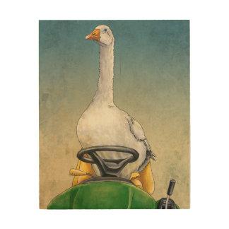 トラクター木キャンバスのEmbdenのガチョウ ウッドウォールアート