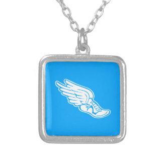 トラックロゴのネックレスの青 シルバープレートネックレス