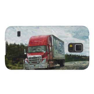 トラック運転手のトラックの運転手の赤い貨物トラック GALAXY S5 ケース