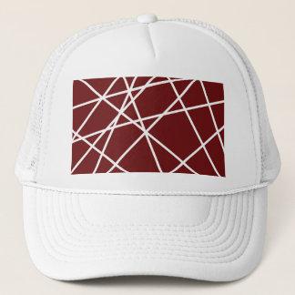 トラック運転手の帽子の白の抽象芸術ライン キャップ