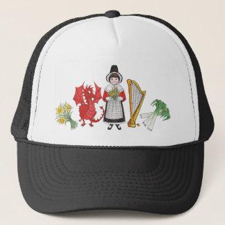 トラック運転手の帽子: ウェールズのラッパスイセン、ドラゴン、ニラネギ、ハープ キャップ