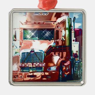 トラック運転手及びトラック恋人のための大きく赤い大型トラック メタルオーナメント