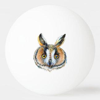 トラフズクの顔の水彩画 卓球ボール