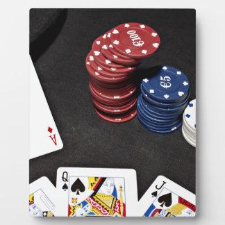 トランプのポーカーのエースはよい手を賭けました フォトプラーク