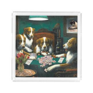 トランプのポーカーの皿を遊んでいるMah Jongg犬 アクリルトレー