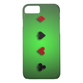 トランプのポーカーの背景のカジノはクラブハートのスペードを梳きます iPhone 8/7ケース