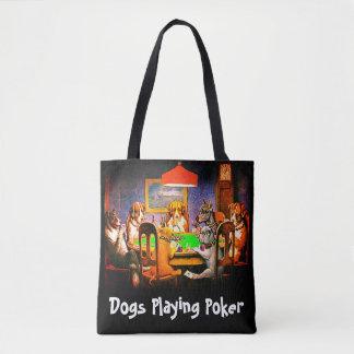 トランプのポーカーを遊ぶおもしろい犬 トートバッグ