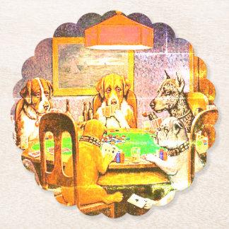 トランプのポーカーを遊んでいる犬 ペーパーコースター