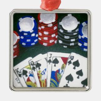 トランプのポーカー夜 メタルオーナメント
