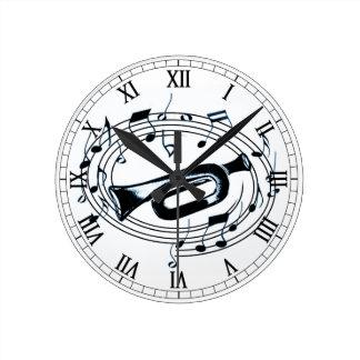 トランペットおよび音符 ラウンド壁時計