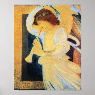 トランペットとの天使、Burneジョーンズのファインアート ポスター
