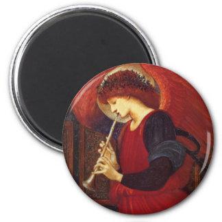 トランペットとの天使、Burneジョーンズのファインアート マグネット