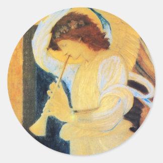 トランペットとの天使、Burneジョーンズのファインアート ラウンドシール