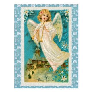 トランペットのクリスマスのヴィンテージの天使 ポストカード
