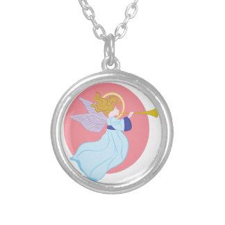 トランペットの天使 シルバープレートネックレス