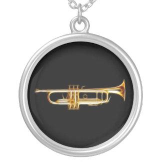トランペットの金管ホルンの風の楽器 シルバープレートネックレス