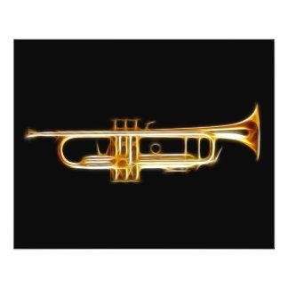 トランペットの金管ホルンの風の楽器 チラシ