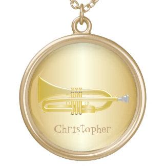 トランペットはちょうど着色される一流の金ゴールドを加えます ゴールドプレートネックレス