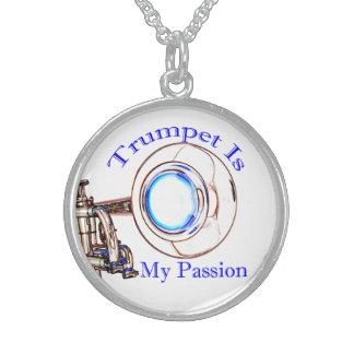 トランペットはミュージシャンのための私の情熱のジュエリーです スターリングシルバーネックレス