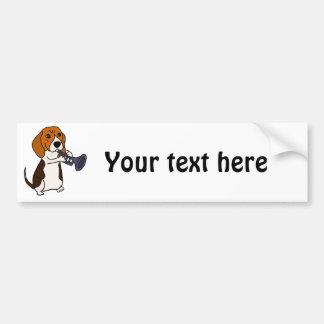 トランペットを演奏しているおもしろいなビーグル犬犬 バンパーステッカー