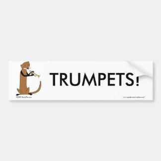 トランペットを演奏しているカワウソ バンパーステッカー